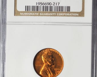 1954 S 1c Lincoln Wheat One Cent Penny Brilliant Uncirculated NGC MS66RD