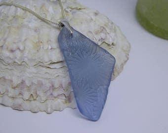 Blue Sea Glass Necklace//Blue Sea glass Pendant//Isle of Wight//Silver necklace//Blue glass//Unique Gifts//Rare Sea Glass//Beach Glass