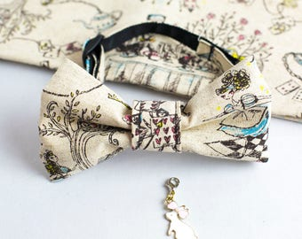 Alice in wonderland x Cat bowtie / Collar with a rabbit charm