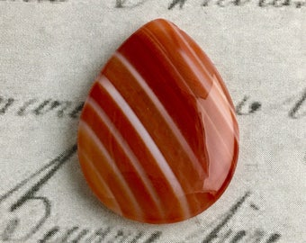 Banded Agate Focal Bead, teardrop, striped, top side drilled, 4 cm x 3 cm, only 1 available