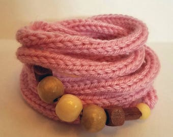 Bracelet Knit Yarn Arm Cuff/Infinity Necklace
