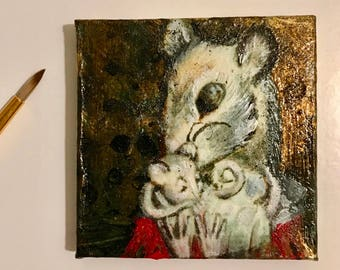 Handmade tiny miniature oil and gold painting of a mother mouse and her mousling Mother Mouse on canvas 6x6 cm sweet small gift