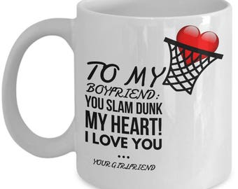 To My Boyfriend! White Coffee Mug, Basketball Boyfriend's Gift, Basketball Boyfriend's keepsake, Basketball Boyfriend's present.