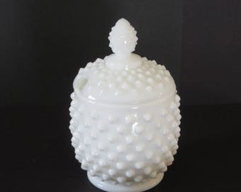 Fenton Hobnail Milkglass Jam Jar/Pot/Marked on Lid and Cover
