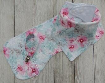 Bandana Bibs/Baby Girl Bibs/Watercolor Floral Bibs/Blue Bib/Pink Bibs/Burp Cloths/Pacifier Clip/Baby Shower Gift Set/