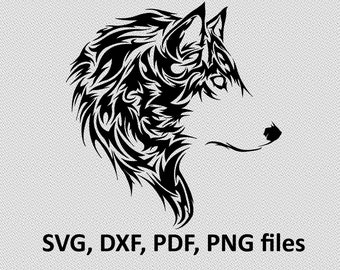 Wolf SVG/ Wolf DXF/ Wolf Clipart/ Wolf Files, tribal symetric cutting, silhouette, DXF, Wolf vector, Wolf head, T Shirt design, wolves, dog