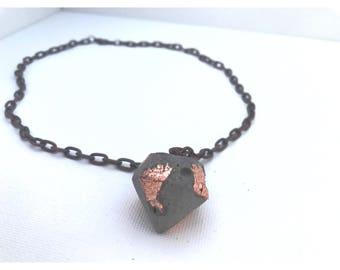 Copper foiled concrete large diamond necklace