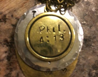 Phillippians 4:13 necklace personalized with charms at clients request.
