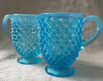 Fenton Blue Hobnail Glass Sugar and Creamer Set