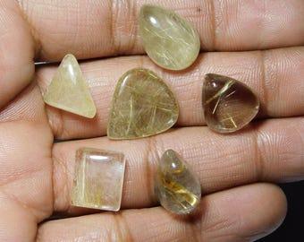 Lot ! AAA quality Golden rutilated quartz loose gemstone mix shape cabochons handmade natural gemstone Amazing gemstone 47.85cts 6 Pieces.