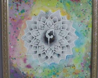 Dotwork / watercolor mandala design with yoga pose