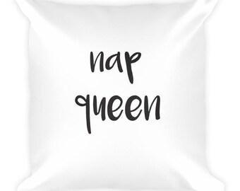 Nap Queen Throw Pillow, Home Decor, House Decor, Customizable, Cute, Girly, Couch Pillow, Decor, Bedroom Decor, Adorable