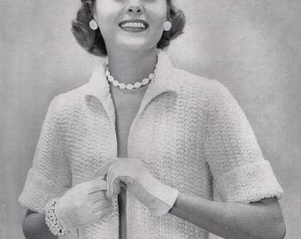 Ladies Bulky Short Jacket, 1950's, Knitting Pattern. Instant Download.