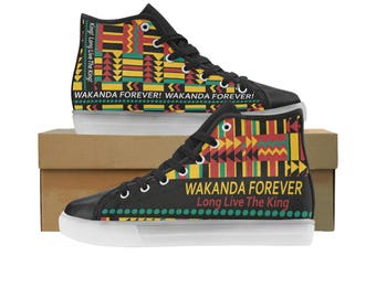 Wakanda Custom Light Up Kid's Shoes - BOY SIZES, But Unisex Design- Please Measure Child's foot To Avoid Returns