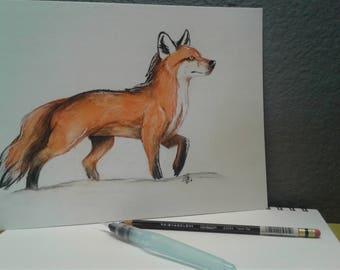 Watercolor Pencil Fox Art