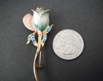 Vintage Tulip Brooch with Soft enamel & glitter