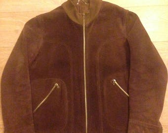 Mens Vintage Brown Suede Bomber Jacket