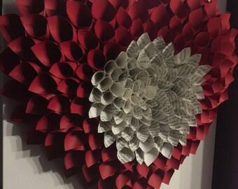 Paper heart wreath