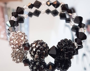 Bracelet while Swarovki Crystal with a 3 MeshBalls tranparent, hematite and jet (black)