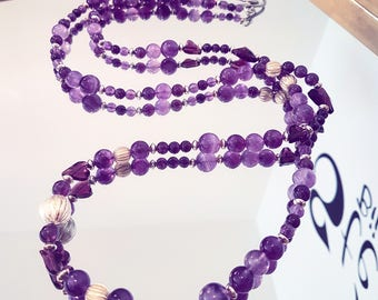 Stunning Amethyst necklace with Swarovski Crystal matching shaped brushed 925 sterling silver beads and hearts