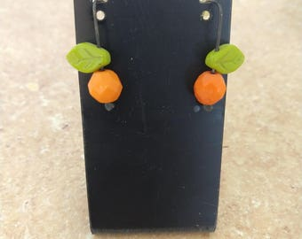Orange glass bead earrings
