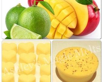3 Lime and mango wax melts, fruity wax melts, wax cubes, cheap wax melts, strong wax melts, highly scented wax melts, food wax melts