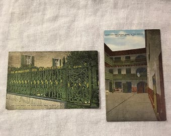 Two vintage postcards of New Orleans on linen stock, likely 1930's or 40's, unused