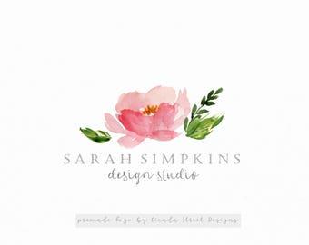 Floral Logo-Premade Logo-Leaf Logo-Elegant Logo-Business Logo-Watercolor Flowers-Branding
