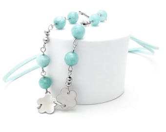 Long Necklace, Amazonite, Steel Beads, Steel Rings and Pins, Faux Suede Cord, Gemstone Pendant, Best Selling Gift