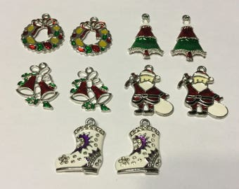 10 Piece Christmas Charms Collection, Enamel