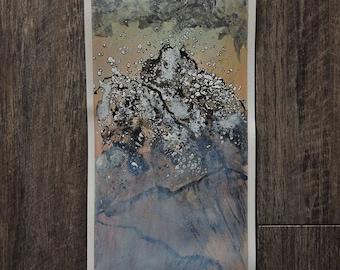 "Small Original Mixed Media Artwork On Paper - American Southwest Desert Landscape -""La Sal Mountain Range: Moab, Utah"""
