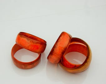 Salvaged Cow Horn Bangle - Orange