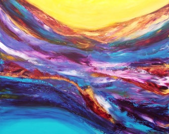 """Abstract painting-art-acrylic on canvas """"between two waves"""""""
