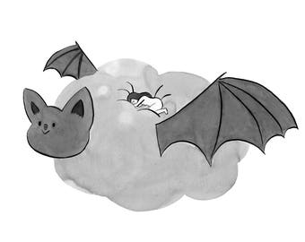 A4 - Giant Bat Cloud, Art Print by Deborah Pinto