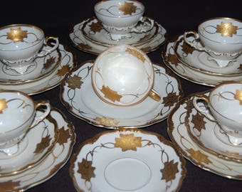 Vintage Tea cup saucer plate trio 3 Pieces Edelstein