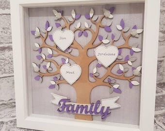 Personalised Family Tree Handmade Box Frame Wall Art Gift for all Occasions