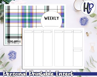 Personal Vertical Week on 2 Pages Undated Printable Inserts! Style B  *DIGITAL*
