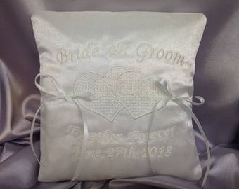 Wedding Ring Cushion, Personalised Ring Bearer Pillow, Bridal Accessory, Bridal Keepsake, Hearts, White or Ivory, 7 inches, RC-3