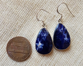 Natural blue sodalite pear shape earrings made in sterling silver 925 natural gemstone earrings imperfectly perfect for daily wear
