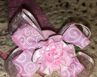 Baby Headbands, Flower Head Band, Hair Bows, baby shower gift, newborn girl gift, infant headband, lace boutique bow, pinwheel bow, One Size