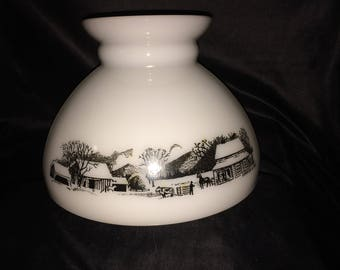Very Nice Vintage Currier & Ives White Milk Glass Lamp Shade Farm Scene