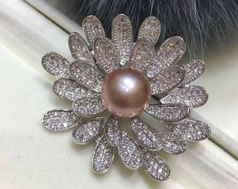 10-11mm Pink Genuine Edison Pearl Daisy Flower Rhinestone Brooch, Cz Daisy Flower Brooch with Pink Edison Pearl, Rhinestone Flower Brooch