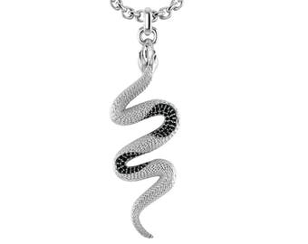 Snake Necklace Made Out of Solid Sterling Silver in Black / White color