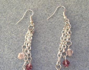 Purple Crystal Dangle Earrings
