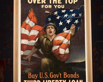 American Liberty Loan Vintage Poster, wwi poster, ww1 poster, third liberty loan, us bonds, american flag prints, army men gift idea, cool
