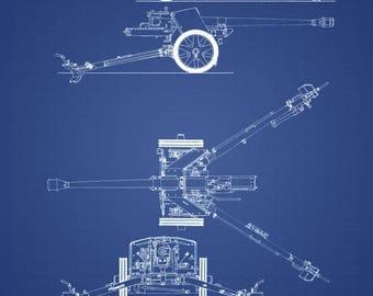 WW2 German Artillery Pak40 Patent Print, blueprint - World War II Engineer blueprint anti tank guns WWII history field gun weapon stalingrad