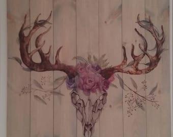 Stag skull wall art