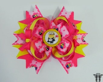 Minions Despicable Me Inspired Stacked Boutique Pink Yellow Hair Bow Maid 6 inches XL