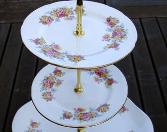 English rose cake stand 2 or 3 tier - Vintage English bone china - Mad Hatter tea party or wedding and baby shower gift