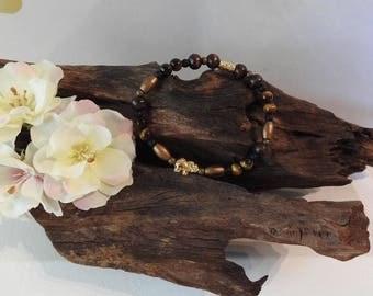Natural Golden Tigers Eye healing gemstone stretch bracelet with Elephant spacer charm